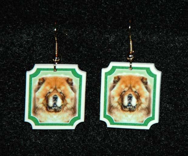 Chow Chow Dog Earrings Jewelry Handmade