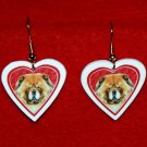 Chow Chow Dog Heart Valentine Earrings Jewelry Handmade