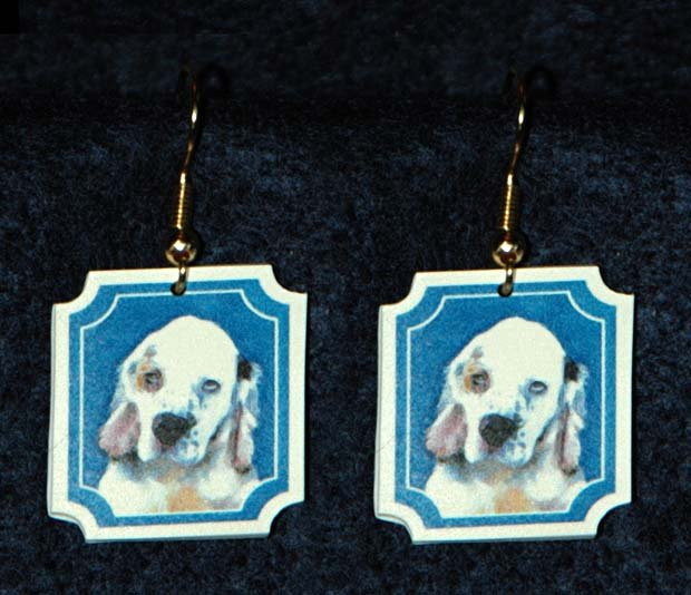 Clumber Spaniel Puppy Jewelry Earrings Handmade