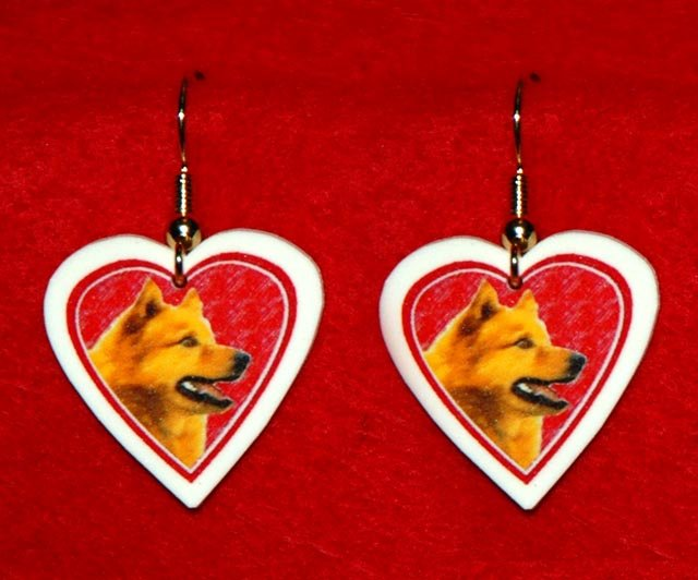 Finnish Spitz Dog Heart Earrings Jewelry Handmade