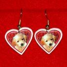 Golden Retriever Puppy Heart Jewelry Earrings Handmade