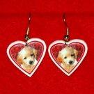 Golden Retriever Puppy Heart Jewelry Earrings Handmade