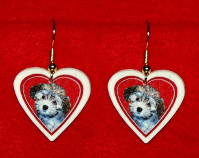 Havanese Puppy Dog Heart Earrings Jewelry Handmade