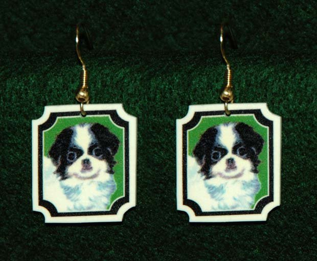 Japanese Chin Dog Jewelry Earrings Handmade