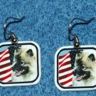 Keeshond Dog Earrings American US Flag