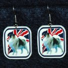Keeshond Dog Earrings British Flag Union Jack