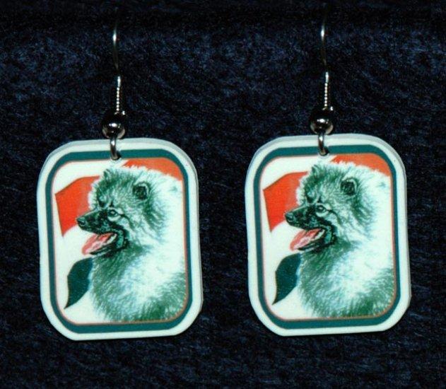 Keeshond Dog Earrings Netherlands Flag
