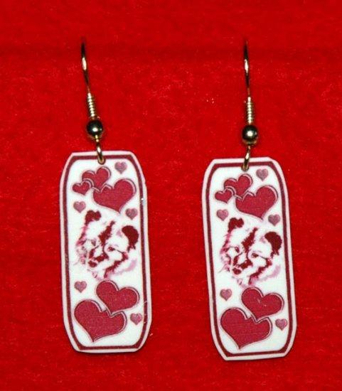 Keeshond Dog Heart Earrings Handmade