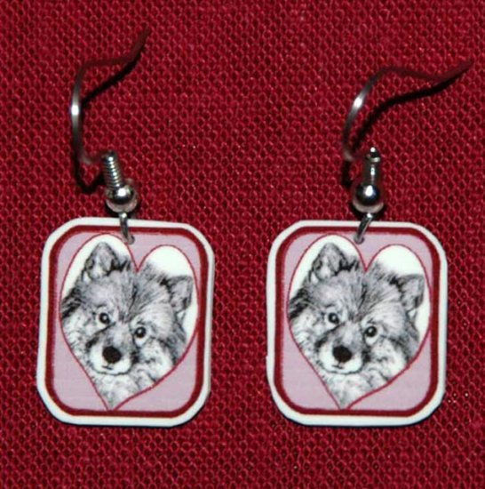 Keeshond Dog Heart Earrings Handmade Red