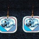 Keeshond Dog Sleeping Puppy in Heart Earrings Handmade