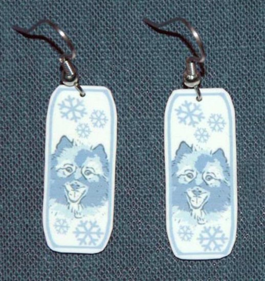 Keeshond Dog Snowflake Earrings Jewelry Handmade