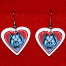 Keeshond Heart Valentine Earrings Jewelry