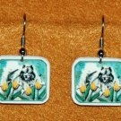 Keeshond in Tulips Earrings Handmade