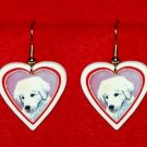 Kuvasz Puppy Dog Heart Earrings Jewelry Handmade