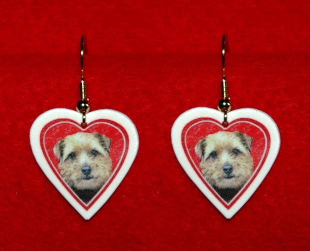 Norfolk Terrier Puppy Heart Valentine Earrings Jewelry
