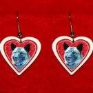 Norwegian Elkhound Heart Valentine Earrings Jewelry Handmade