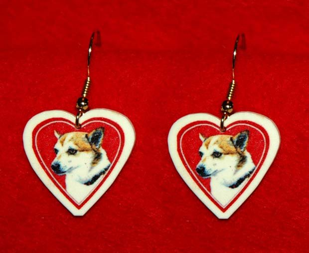 Norwegian Lundehund Dog Heart Jewelry Earrings Handmade