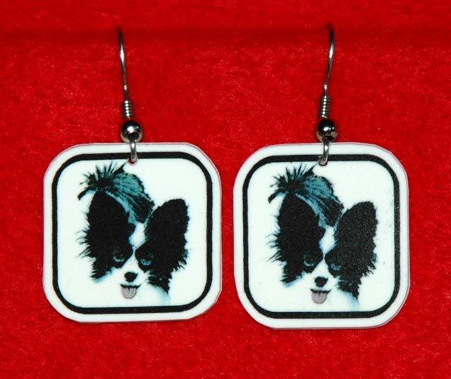 Papillon Dog Earrings Handmade