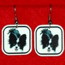 Papillon Dog Earrings Handmade