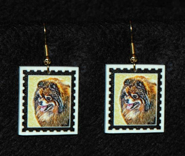 Pomeranian Dog Jewelry Earrings Handmade