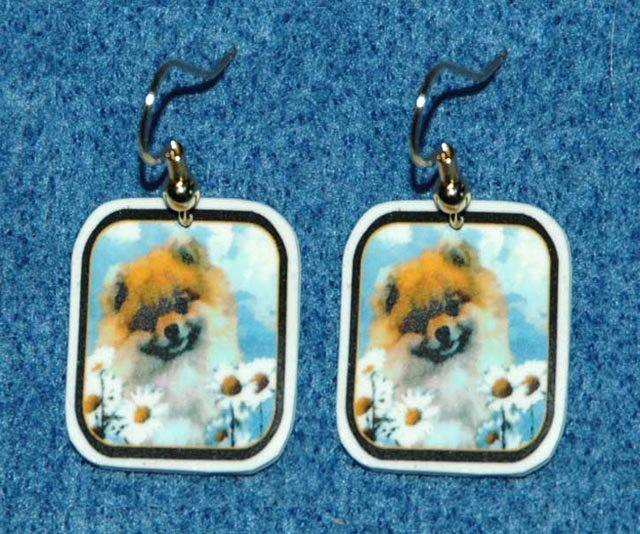 Pomeranian Pom Earrings Jewelry Handmade