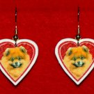 Pomeranian Pom Heart Valentine Day Earrings Jewelry