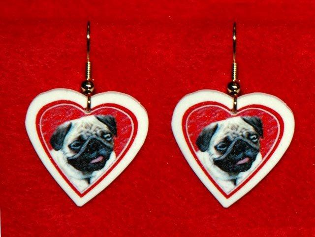 Pug Dog Heart Valentine Jewelry Earrings Handmade