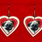 Pug Dog Heart Valentine Jewelry Earrings Handmade