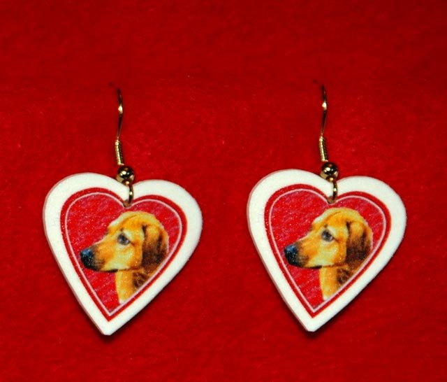Rhodesian Ridgeback Heart Valentine Jewelry Earrings Handmade