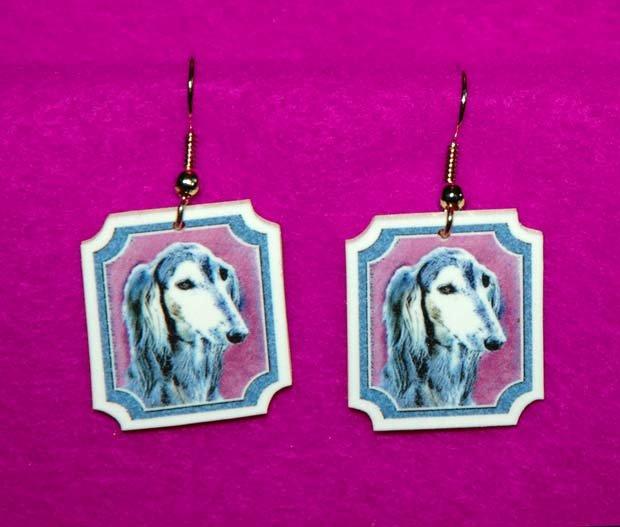 Saluki Dog Jewelry Earrings Handmade