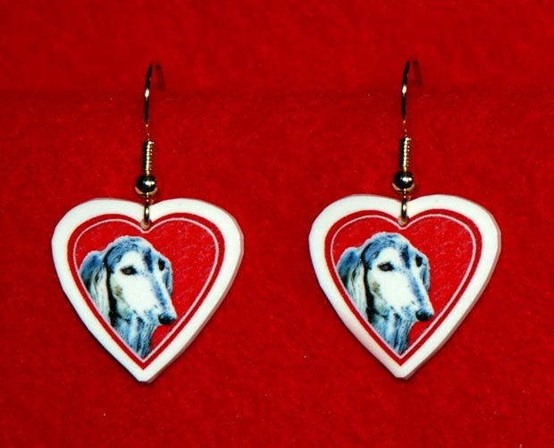 Saluki Dog Heart Valentine Jewelry Earrings Handmade