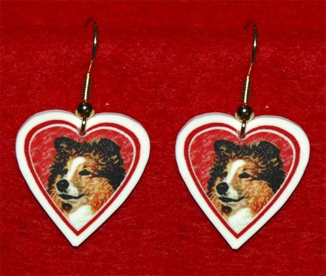 Sheltie Shetland Sheepdog Dog Heart Valentine Earrings