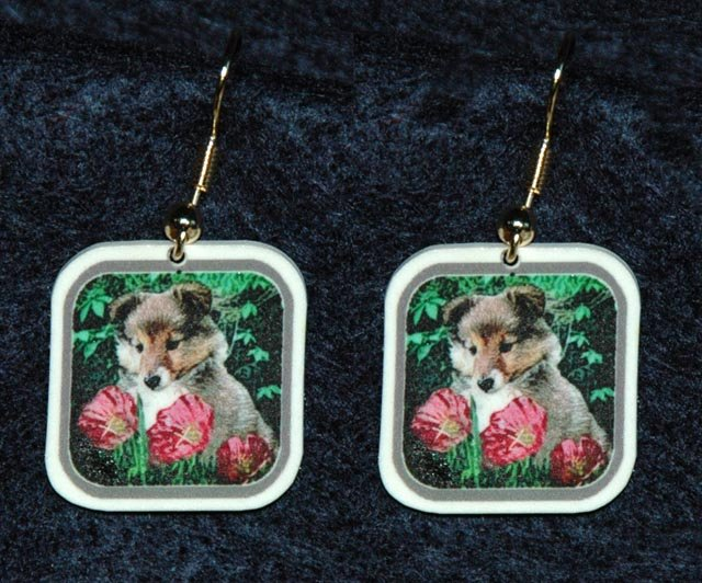 Sheltie Shetland Sheepdog Puppy Jewelry Earrings Handmade