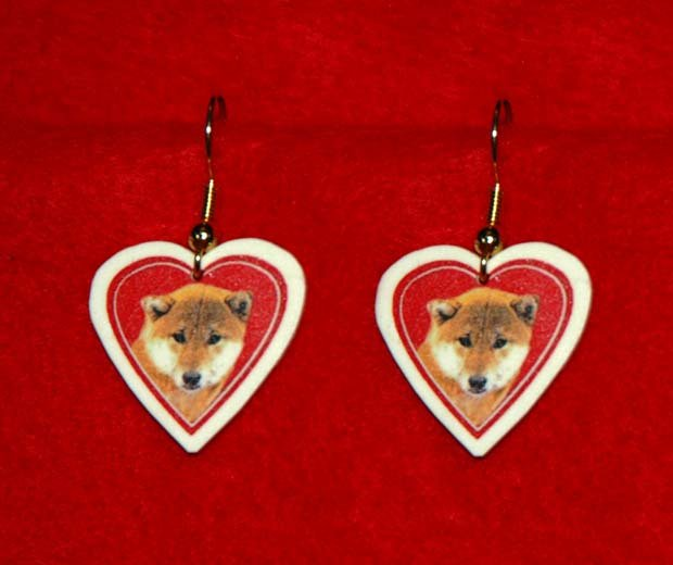 Shiba Inu Dog Heart Jewelry Earrings Handmade