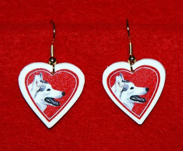 Siberian Husky Heart Valentine Earrings Jewelry Handmade