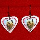 Silky Terrier Heart Valentine Jewelry Earrings Handmade