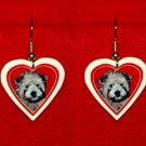 Soft Coated Wheaten Terrier Puppy Heart Valentine Earrings Handmade
