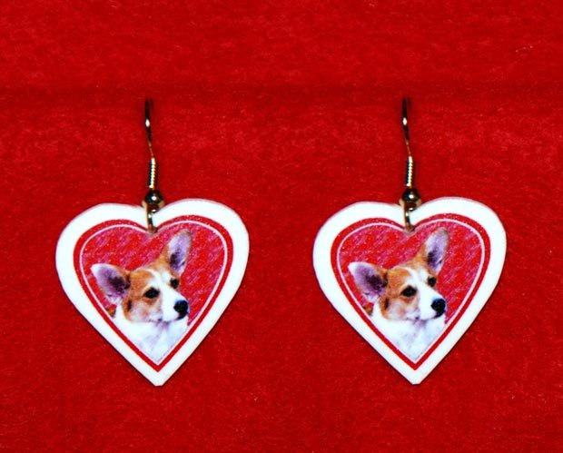 Welsh Corgi Dog Heart Jewelry Earrings Handmade