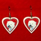 Westie West Highland Heart Valentine Earrings Jewelry