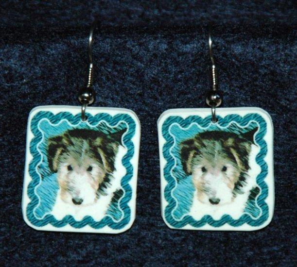 Wire Fox Terrier Wired Hair Puppy Earrings Handmade