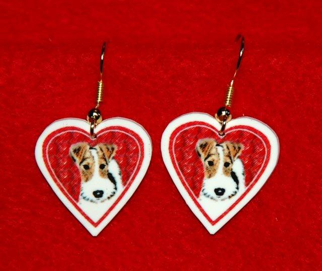 Wire Hair Fox Terrier Heart Valentine Earrings Jewelry