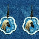 Afghan Hound Dog Christmas Snowflake Earrings Jewelry Handmade