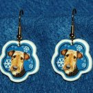 Airedale Terrier Jewelry Christmas Snowflake Earrings Handmade