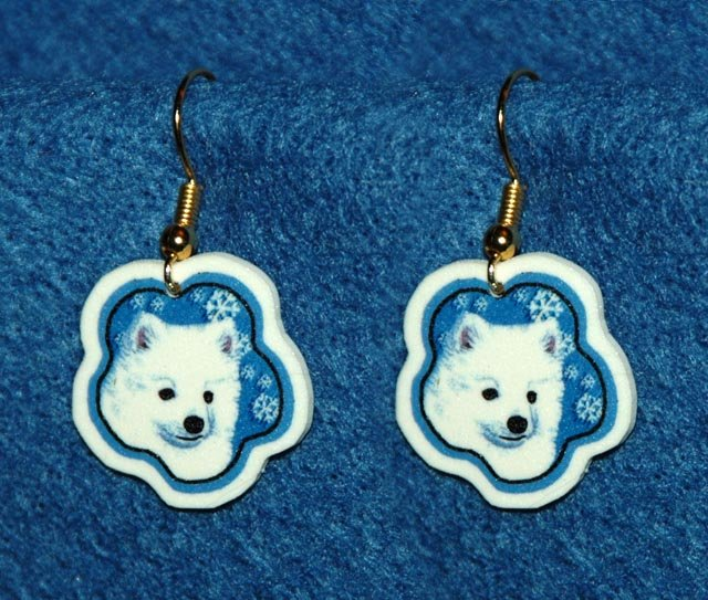 American Eskimo Puppy Dog Jewelry Christmas Snowflake Earrings Handmade