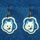 American Eskimo Puppy Dog Jewelry Christmas Snowflake Earrings Handmade