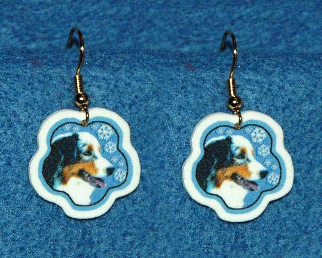 Australian Shepherd Dog Christmas Snowflake Earrings Handmade