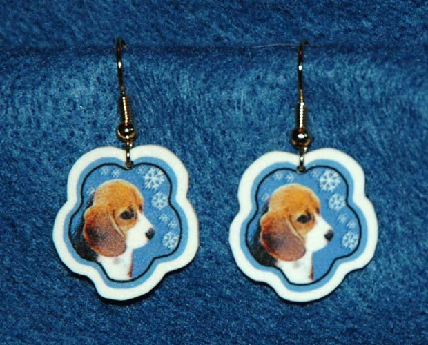 Beagle Puppy Dog Jewelry Christmas Snowflake Earrings Handmade