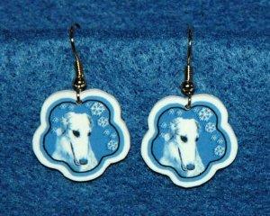 Borzoi Russian Wolfhound Dog Jewelry Christmas Snowflake Earrings Handmade