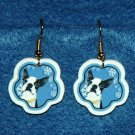 Boston Terrier Jewelry Christmas Snowflake Earrings Handmade