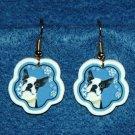 Boston Terrier Jewelry Christmas Snowflake Earrings Handmade